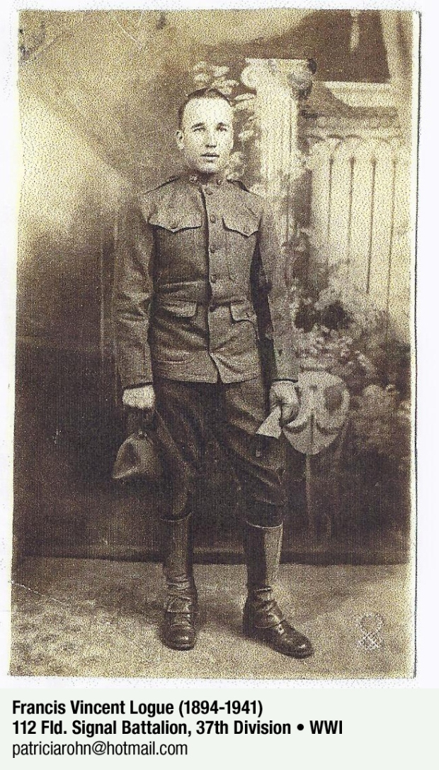 Francis Vincent Logue who served in World War I. Original photo privately held by Kathy Ender, Hilton Head, SC. Scanned and emailed to Patricia A. Rohn.