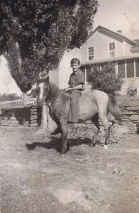 Dad riding a pony at the O'Mara farm in Laceyville, PA.